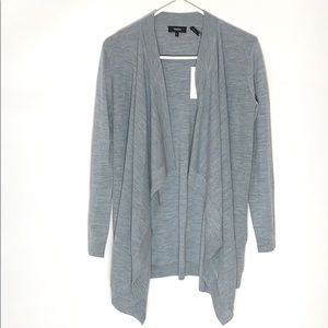 Theory gray wool open front drape cardigan Sz Sm